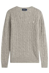 Polo Ralph Lauren Cable Knit Wool Pullover With Cashmere Grey
