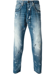 People Distressed Cropped Jeans Blue
