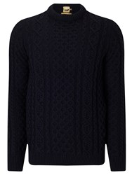 John Lewis And Co. Made In England Cable Knit Merino Jumper Navy