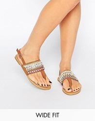 New Look Wide Fit Beaded Flat Sandals Tan