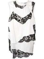 Dkny Layered Lace Insert Top White