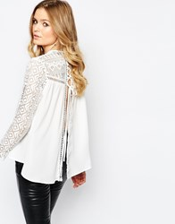 Goldie Fiona Lace Insert Blouse With Lace Up Back Detail White