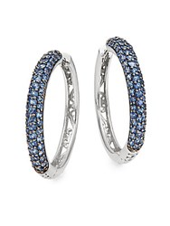 Effy Sapphire And 14K White Gold Hoop Earrings