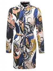 Ax Paris Long Sleeve Print Shirt Dress Multi Coloured