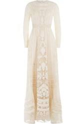 Valentino Embellished Lace Floor Length Gown White