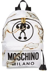 Moschino Leather Trimmed Printed Canvas Backpack White