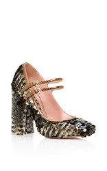Rochas Enea Sequined Mary Jane Heels Black Brown