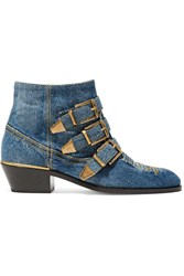 Chloe Susanna Embroidered Denim Ankle Boots Mid Denim
