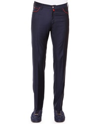 Stefano Ricci Flat Front Sport Trousers Navy