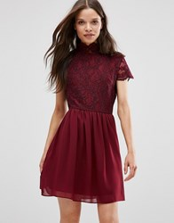 Daisy Street Skater Dress With Lace Top Burgundy Red