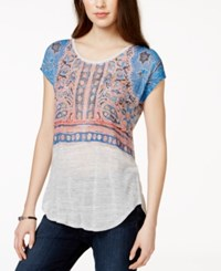 Lucky Brand Short Sleeve Printed T Shirt Light Grey