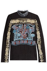 Peter Pilotto Embroidered High Neck Top Black