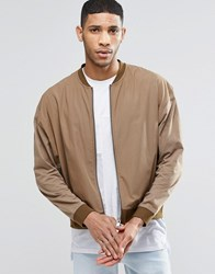 Asos Oversized Lightweight Jersey Bomber Jacket With Woven Panel Beige