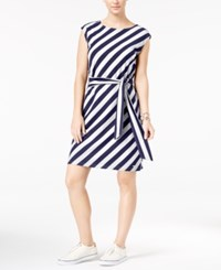 Tommy Hilfiger Freya Striped Belted Fit And Flare Dress Peacoat Print Snow White