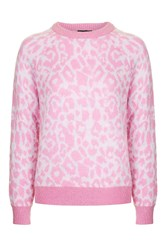 Topshop Animal Mohair Jumper Pink