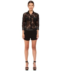 Philipp Plein Lace Romper Black