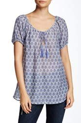 Joie Tanger Printed Peasant Blouse Blue