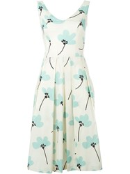 Eggs Floral Print Pleated Dress White