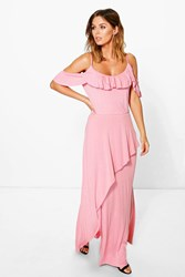 Boohoo Ruffle Cold Shoulder Maxi Dress Dusky Pink