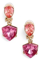 Oscar De La Renta Women's 'Shield' Crystal Clip Earrings Pink