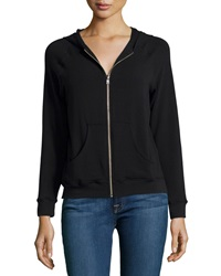 Solow Hooded Zip Front Raglan Sweatshirt Black