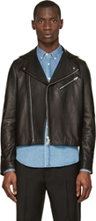 Acne Studios Black Leather And Suede Gibson Biker Jacket