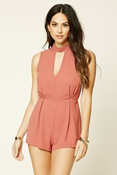 Forever 21 High Neck Lace Cutout Romper