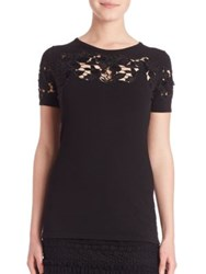 Elie Tahari Winnie Floral Cutout Sweater Antique Black