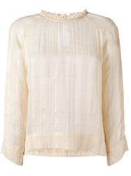 Bellerose Checked Blouse Nude Neutrals