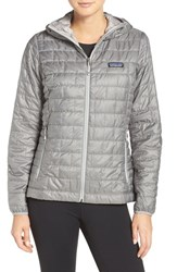 Patagonia Women's 'Nano Puff' Hooded Water Resistant Jacket Feather Grey