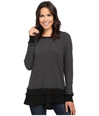 Allen Allen Long Sleeve Raglan Double Layer Crew Black Women's Long Sleeve Pullover