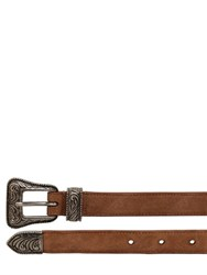 Saint Laurent 20Mm Suede Western Belt