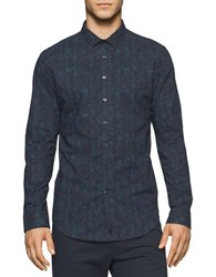 Calvin Klein Slim Fit Pixel Printed Long Sleeve Shirt Blue
