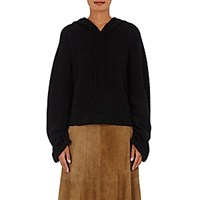 The Elder Statesman Women's Cashmere Blend Hooded Crop Sweater Blue