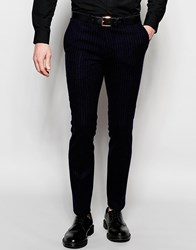 Noose And Monkey Pinstripe Trousers In Super Skinny Fit Blue