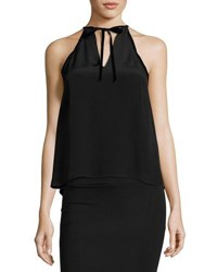 Alexis Tulla Sleeveless Silk Tie Neck Top Black