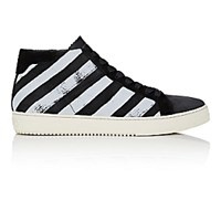 Off White C O Virgil Abloh Men's Diagonal Striped High Top Sneakers Black Blue Black Blue