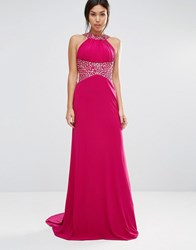 Forever Unique Madaline Maxi Dress With Embelished Waist And Neckline Magenta Pink