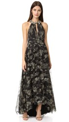 Marchesa Embroidered Gown Black