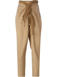 Jay Ahr Rope Detail High Waist Trousers Nude And Neutrals