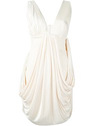 Fausto Puglisi Draped V Neck Dress White
