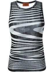 Missoni Wavy Stripe Knit Tank Top Black
