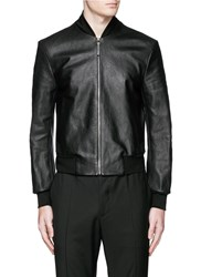 Paul Smith Horsehide Front Leather Bomber Jacket Black