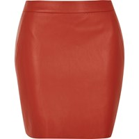 River Island Womens Red Leather Look Mini Skirt