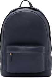 Pb 0110 Navy Blue Leather Large Backpack