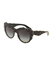 Dolce And Gabbana 3 D Floral Cat Eye Sunglasses Teal