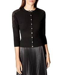 Karen Millen Lace Detail Cardigan Black