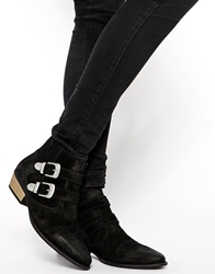 Pull And Bear Double Buckle Suede Western Ankle Boots Black