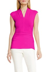 Women's Vince Camuto Side Ruched V Neck Top Pink Nectar