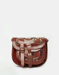 Park Lane Leather Saddle Bag With Blanket Detail Brown Multi